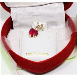 10K GOLD WHITE SAPPHIRE AND RUBY PENDANT
