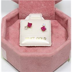 10K GOLD GENUINE MOONSTONE RUBY EARRINGS