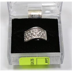 SILVER COLORED CZ RING, SIZE 5.5