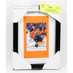 FRAMED CONNOR MCDAVID AUTOGRAPH UPPER DECK CARD.