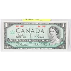 1967 CANADA GEM UNC NO SERIAL # CENTENNIAL $1 BILL