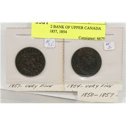 LOT OF 2 BANK OF UPPER CANADA COINS, 1857, 1854