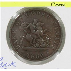1850 BANK OF UPPER CANADA 1/2 PENNY