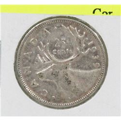 1939 CANADIAN GVI SILVER 25 CENT