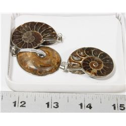 GROUP OF 3 SHELL FOSSIL STYLE PENDANTS