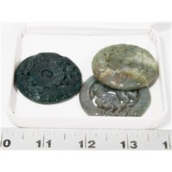 GROUP OF 3 JADE STYLE STONE MEDALLIONS