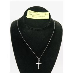 10K WHITE GOLD CHAIN WITH CROSS PENDANT