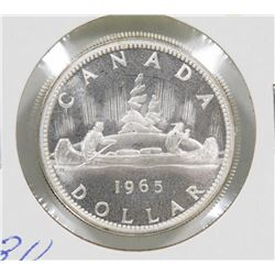 CANADIAN BRILLIANT UNC 1965 SILVER $1 COIN