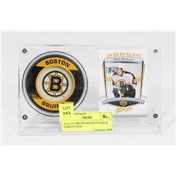 BOSTON BRUINS HOCKEY PUCK & CARD IN CASE