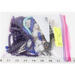 BAG OF STONE BEADS, PURPLE,BLUE & VARIOUS