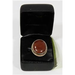 RED JASPER STONE SET IN .925 SILVER RING SIZE 9.