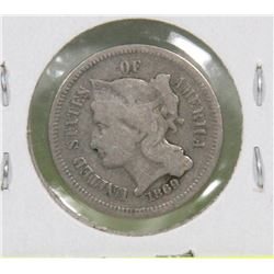 1869 USA 3 CENT COIN