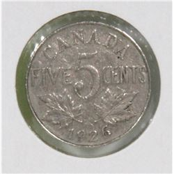 1926 CANADIAN 5 CENT COIN, KEY DATE COIN