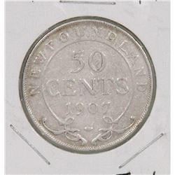 NEWFOUNDLAND 1907 FIFTY CENT COIN.