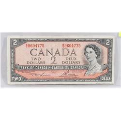 CANADIAN 1954 TWO DOLLAR BILL.