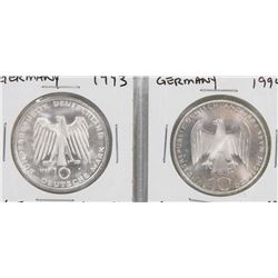 TWO GERMANY 10 MARK SILVER COINS.