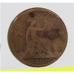 1861 GREAT BRITAN 1 CENT COIN