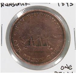 NEW BRUNSWICK 1843 ONE PENNY COIN.