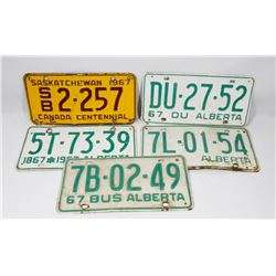 LOT OF 5 -1967 LICENSE PLATES