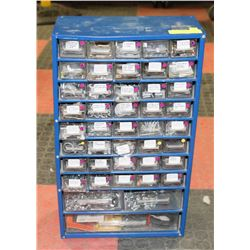 BLUE METAL 43 DRAWERS FULL OF ASSORTED, NUTS AND