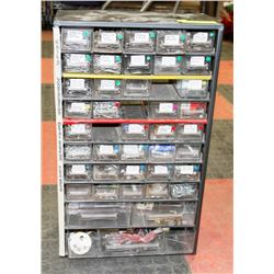 GREY METAL CABINET 43 DRAWERS FULL OF NAILS AND