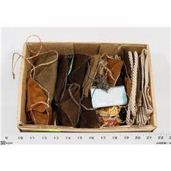 BOX FULL OF NEW FABRIC BAGS, SPIRITUAL