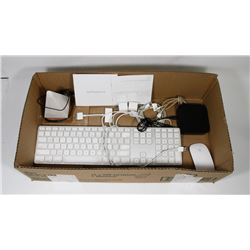 BOX W/APPLE PRODUCTS INCL. KEYBOARD,