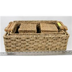 5-PC SQUARE WICKER STORAGE BASKET SET -