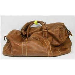 BROWN ROOTS GENUINE LEATHER DUFFLE BAG WITH STRAP