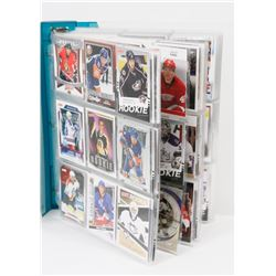 BINDER OF OVER 420 ROOKIE HOCKEY CARDS -