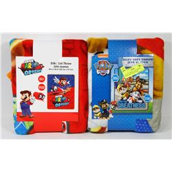 "LOT OF 2 40""X50"" SOFT THROWS, MARIO AND PAW PATROL"