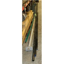 THREE STEEL PIPES , GREEN TOOL , FLOOR MOUNT IRON