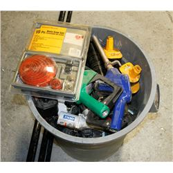 GARBAGE CAN WITH ASSORTED TOOLS