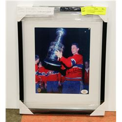 JEAN BELIVEAU AUTOGRAPHED PHOTO FRAMED.
