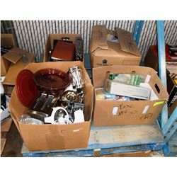 PALLET OF ASSORTED HOUSEHOLD, OFFICE SUPPLIES AND