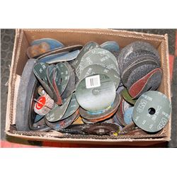 LARGE BOX OF GRINDING DISCS, WHEELS, STONES AND