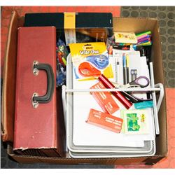 BOX FULL OF OFFICE SUPPLIES INCL 3-TIER
