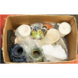 BOX OF ARTISTIC POTTERY ITEMS - VASES,
