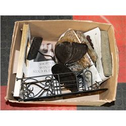 BOX OF ASSORTED ITEMS INCLUDING IRON SHELF,