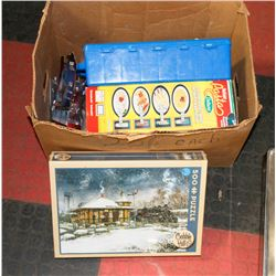 BOX OF ASSORTED INCL HOTWHEELS CAR CASE, SEALED
