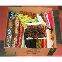 LARGE BOX FULL OF FABRICS AND BEAD