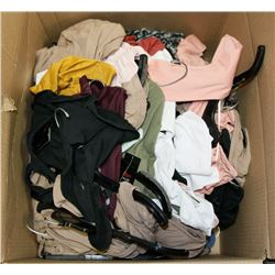 BOX OF ASSORTED CLOTHING, APPEARS TO BE