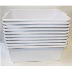 "TOTE BOX - LOT OF 10 - WHITE 7"" DEEP"