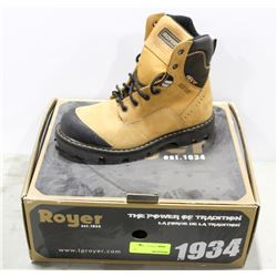 PAIR OF ROYER STEEL TOE WORK BOOT, MENS SIZE 8