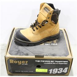 PAIR OF ROYER STEEL TOE WORK BOOT, MENS SIZE 7.5