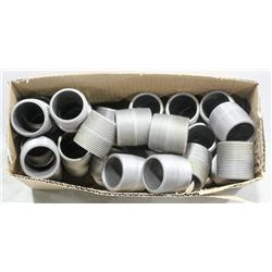 BOX OF ASSORTED THREADED FITTINGS