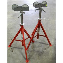 PAIR OF RIDGID ROLLER HEAD HIGH PIPE STANDS