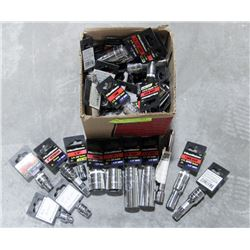 BOX OF ASSORTED SIZED GEARWRENCH SOCKETS,