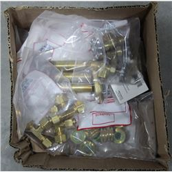 BOX OF ASSORTED BRASS FITTINGS AND MORE