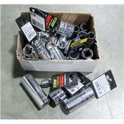 BOX OF ASSORTED SIZED NEW SOCKETS
